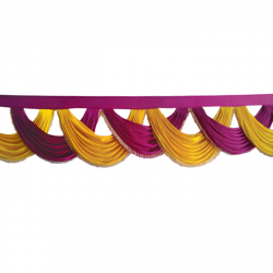 18 FT - Designer Jhalar - Scallop Jhalar - Chain Scallop Jhalar - Kantha - Jhalar - Made Of Lycra - Maharani Pink & Yellow Color
