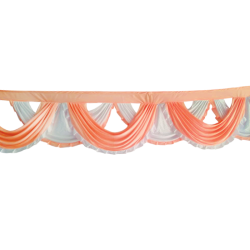 18 FT - Designer jhalar - Scallop Jhalar - Kantha - Jhalar - Made Of Lycra - Peach & White Color