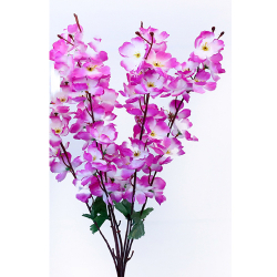 Height 21 Inch - Blossom Bunch X 7 Stick - AF - 363 - Leaf Bunch - Purple & White Color