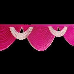 15 FT - Designer Zalar - Scallop Zalar - Kantha - Jhalar - Made of Lycra - Maharani Pink & White Colour
