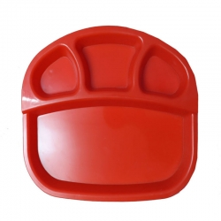 13 Inch X 10.5 Inch - 4 Compartment Plate - Dosa Plate - Made of Food Grade Plastic - Red Color