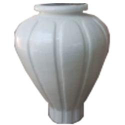 3 FT - Artificial Fancy Fiber Glass Flower Pot - Fiber Kundi - White Color