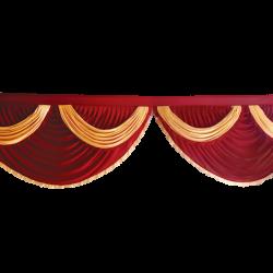 15 FT - Designer Zalar - Scallop Zalar - Kantha - Jhalar - Made of Lycra - Maroon & Peach Colour