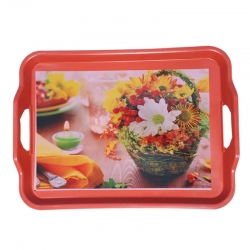 19 Inch X 13 Inch - Printed Tray - Serving Tray - Made of Plastic - Rectangular Shape - Multi Color