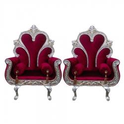 Cherry Color - Heavy Premium Metal Jaipur Sofa Chair - Wedding Chair - Chair Set - Made Of High Quality Metal & Wooden