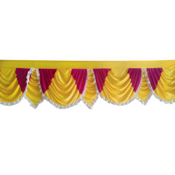 15 FT - Designer Zalar - Scallop Zalar - Kantha - Jhalar - Made of Lycra - Yellow & Maharani Pink Colour