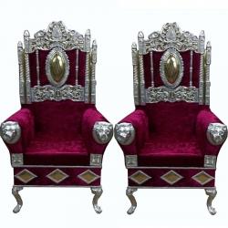 Mahroom Color - Heavy Premium Metal Jaipur Chair - Wedding Chair - Varmala Chair - Made of High Quality Metal & Wooden - 1 Pair ( 2 Chair )