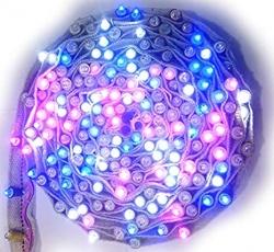 40 FT - Long - 200 Bulbs - 8 MM Belt - Fabric RGB Blinking LED Lights Series.