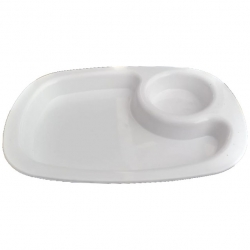 8.56 Inch Snacks Plate - 2 Compartments Divided Plastic Plates - Made Of  Polypropylene - White Color .