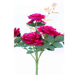 Height 18 Inch - Rose Bunch X 6 - AF - 155 -Artificial Bunch - Leaf Flower - Cherry Color