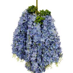 Height - 42 Inch - Hydrengea Wisteriya - Latkan - Flower Decoration - Artificial Latkan - Plastic Latkan - AF 1032 - 760 - Light Blue Color - 1 Packet ( 12 Pieces )
