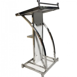 4 FT - Podium - Dias - Lectern Stand - Presentation Dias Made of Stainless Steel - White Color.