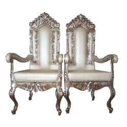 Gray Color - Heavy Metal Premium Jaipuri Chair - Wedding Chair - Chair Set - Made Of Metal & Wooden - 1 Pair ( 2 Chair )