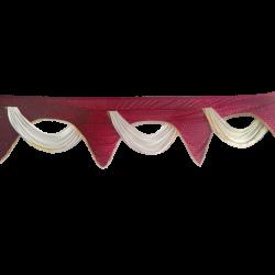 18 FT - Designer Jhalar - Scallop Jhalar - Kantha - Jhalar - Made Of Lycra With Tipki - Maroon & Off White Color
