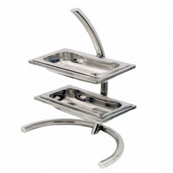 Stainless Steel Salad Stand - 2-Tier Stand - Silver Color - Made of Stainless Steel