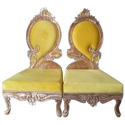 Yellow Color - Heavy Premium Metal Jaipur Mandap Chair - Wedding Chair - Varmala Chair - Made of High Quality Metal & Wooden - 1 Pair ( 2 Chair )