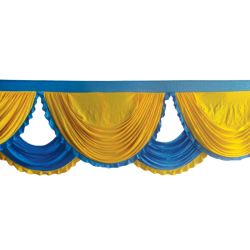 18 FT - Designer Jhalar - Scallop Jhalar - Kantha - Jhalar - Made Of Lycra With Tipki - Yellow & Firozi Blue Color