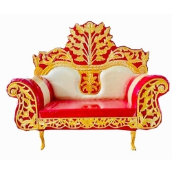 Red & White Color - Regular - Couches - Sofa - Wedding Sofa - Maharaja Sofa - Wedding Couches - Made of Wooden & Metal