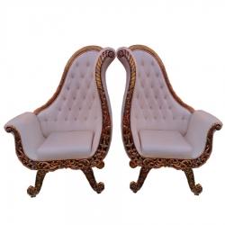 White Color - Heavy Metal Premium Jaipuri Chair - Wedding Chair - Chair Set - Made Of Metal & Wooden - 1 Pair ( 2 Chair )