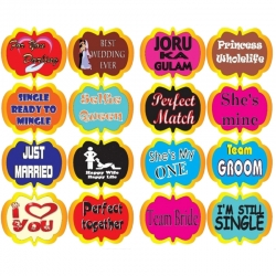 2.5 Inch - Wedding Ceremony Party Photo Booth Props Craft Item - Multi Color (Set of 16) - Stickers