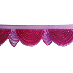 18 FT - Designer Jhalar - Scallop Jhalar - Kantha - Jhalar - Made Of Lycra With Tipki - Maharani Pink & Lavender Color