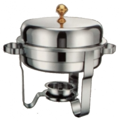 5 LTR - Round Chafing Dish - Hot Pot Dish - Garam Set Hydraulic - Made Of Stainless Steel.