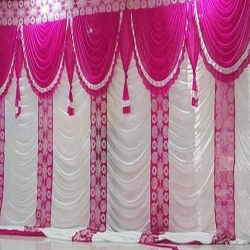 10 FT X 15 FT - Designer Curtain - Parda - Stage Parda - Wedding Curtain - Mandap Parda - Back Ground Curtain - Side Curtain - Brite Lycra - Pink & White Color