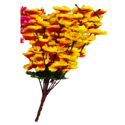 Height  24 Inch - Blossom Bunch X 9 Stick - AF- 503 - Leaf Bunch - Yellow & Orange Color
