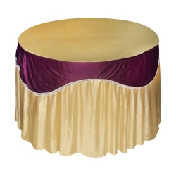 4 ft x 4 ft - Round Table Cover - Made of Premium Quality Lycra Cloth - Chandan Lycra + Wine Valence Jhalar