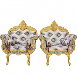 Multi Color - Heavy Metal Premium Jaipuri Chair - Wedding Chair - Chair Set - Made Of Metal & Wooden - 1 Pair ( 2 Chair )