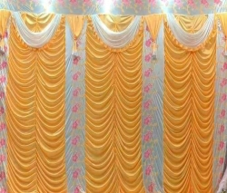 10 FT X 15 FT - Designer Curtain - Parda - Stage Parda - Wedding Curtain - Mandap Parda - Back Ground Curtain - Side Curtain - Brite Lycra - Yellow Color