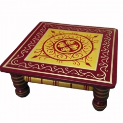 16 Inch X 16 Inch - Pooja Chowki - Decorative Wooden Showpiece - Red & Golden Color