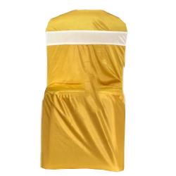 Lycra Cloth Chair Cover Without Handle - For Plastic Chair - Armless -  Yellow With White Color