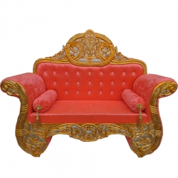 Orange Color - Heavy Premium Metal Jaipur Couches - Sofa - Wedding Sofa - Wedding Couches - Made Of High Quality Metal & Wooden