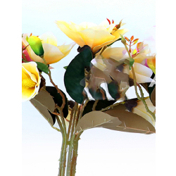 Height  19 Inch - Magnolia Flower Bunch -  AF-254 - Leaf Bunch - Yellow Color