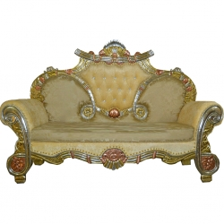 Golden Color- Udaipur - Rajasthani -  Jaipuri - Heavy - Premium -  Couches - Sofa - Wedding Sofa -Maharaja Sofa - Wedding Couches - Made of Wooden & Metal