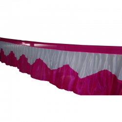Table Cover Frill - Counter Jhalar - Made of Brite Lycra - Orange Color (Size Available in 10 Ft X 15 Ft X 30 Ft )