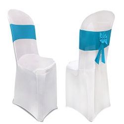 Lycra Cloth Chair Cover Without Handle - For Plastic Chair - Armless - White With Firozi Blue Color