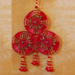 12 Inch - Jhumar - Parrot Hanger - Wall Hanging - Door Jhumar - Red Color