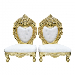 White & Gold Combination - Udaipur - Heavy - Premium - Unique - Mandap Chair - Wedding Chair - Varmala Chair - Pidha Chair - Chair Set - Made of Metal and Wood - 1 Pair (Two Pieces)