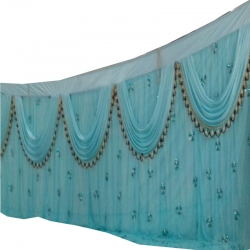 10 FT X 15 FT - Designer Curtain - Parda - Stage Parda - Wedding Curtain - Mandap Parda - Back Ground Curtain - Side Curtain - Made Brite Lycra - Sky Blue Color