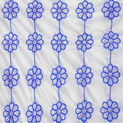 26 Gauge - Designer Bright Lycra - Embroidery Work - 52 Inch Panna -  Threadwork & Sequence Work - Super White Color & Blue Flowers