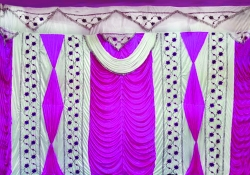 10 ft x 15 ft - Designer Curtain - Parda - Stage Parda - Wedding Curtain - Mandap Parda - Background Curtain - Side Curtain - Made of Bright Lycra - Multi Color - Maharani Pink + White - Festoon