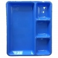 12 Inch - Divided-Dinner Plate With 4 Compartments Made Of Food-Grade Virgin Plastic (Microwave-Safe) Blue Color