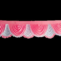 24 FT - Designer Zalar - Scallop Zalar - Kantha - Jhalar - Made Of Lycra - Baby Pink & White Color