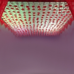 15 FT X 30 FT - Ribbon Ceiling - Fur Ceiling - Fancy Ceiling- Satin Fabric Ribbon With Flower - 10 KG Taiwan Cloth - Red & Peach Color