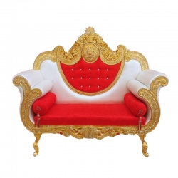 White & Red Color - Heavy Premium Metal Jaipur Couches - Sofa - Wedding Sofa - Wedding Couches - Made Of High Quality Metal & Wooden