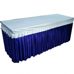 1.5 FT X 6 FT - Rectangular Table Cover - Made Of Premium Quality 26 Gaude Brite Lycra - Blue & White Color