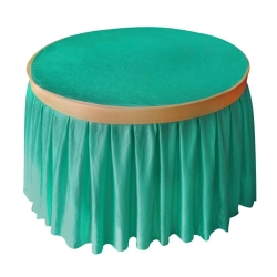 4 FT x 4 FT - Round Table Cover - Made of Premium Quality Lycra Cloth - Sea Green & Chandan Color