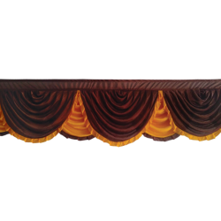 15 FT - Designer Zalar - Scallop Zalar - Kantha - Jhalar - Made of Lycra - Brown & Orange Color